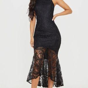 BLACK LACE HIGH NECK FISHTAIL  DRESS